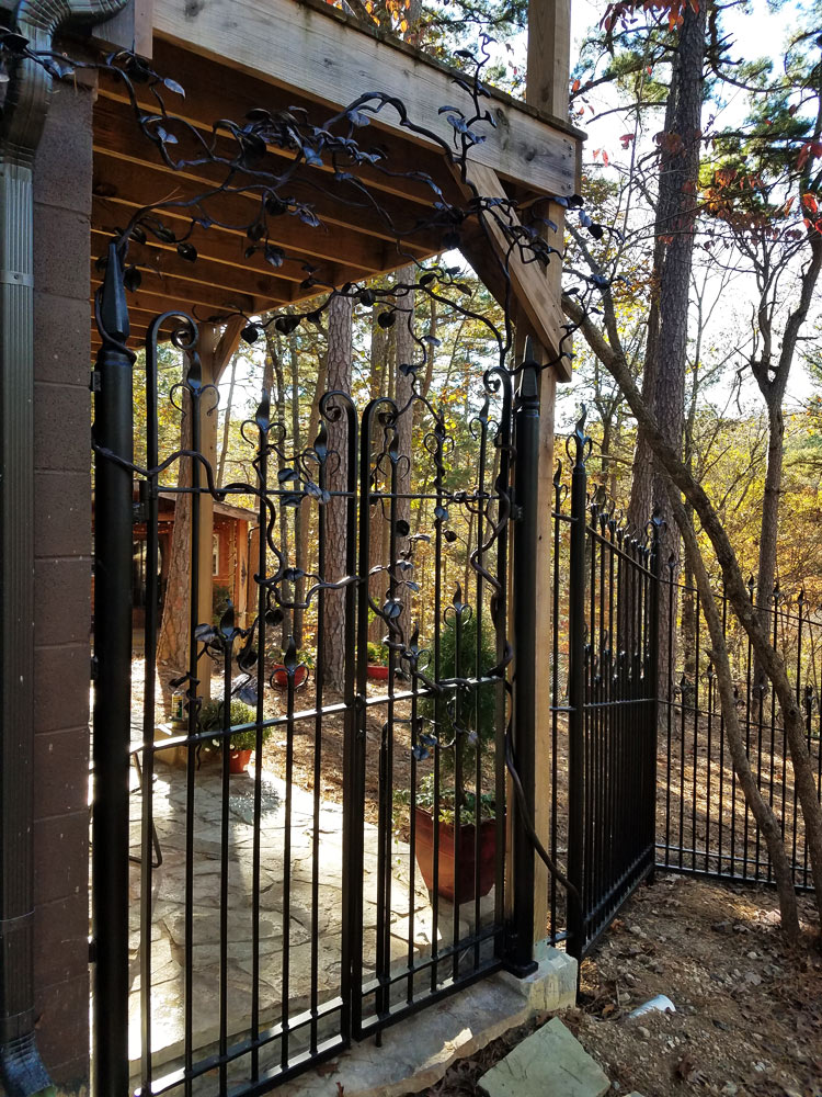 Forged Patio Gate With Vines